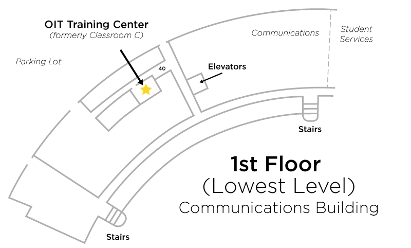 Map to OIT Training Center in Communications Building