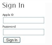 screenshot of AppleID sign in