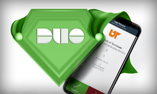 DUO logo shield and phone