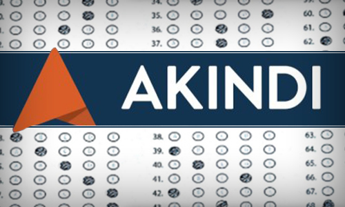 Akindi logo with image of online scantron filled in