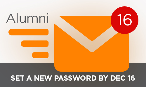 Alumni email needs to set new passwords