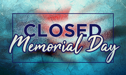 Closed Memorial Day text on a blurry flag image
