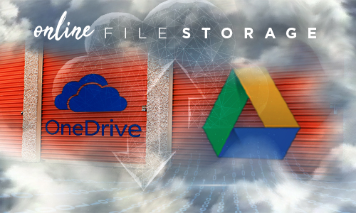 Storage units in the cloud with OneDrive and Google Drive logos