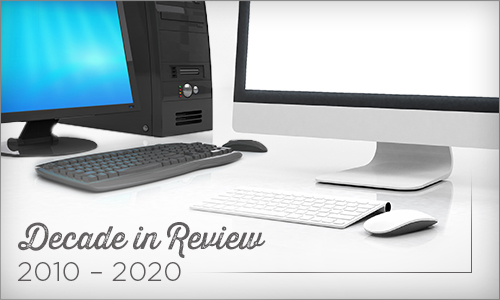 PC and Mac computers showing changes from 2010-2020
