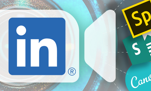 linkedin logo with Adobe Spark, Microsoft Sway and Canva logos
