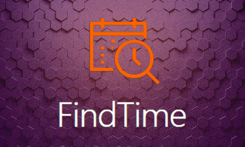 Microsoft FindTime logo calendar and clock illustration