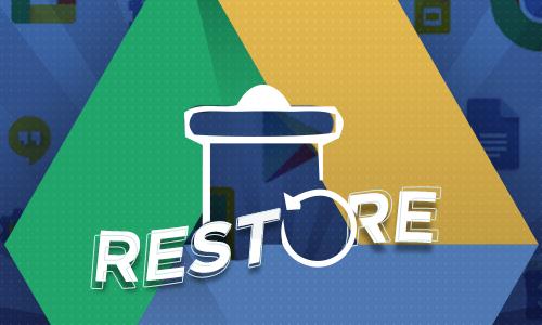 Google Drive logo with restore trash icon
