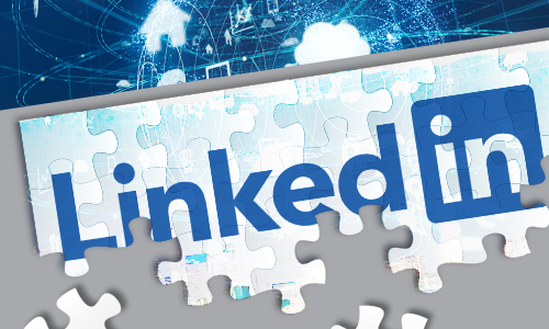 linkedin logo with puzzle design