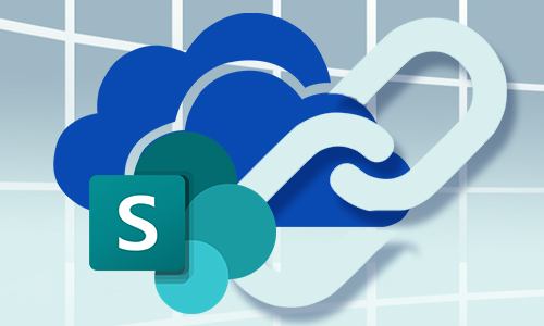 OneDrive and SharePoint logos with a link icon