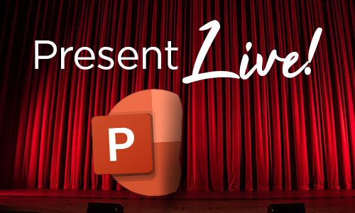 PowerPoint logo and red curtain stage