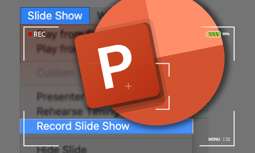 PowerPoint logo with recording graphic overlay