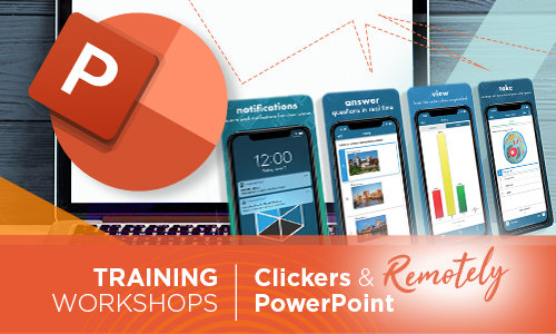 PowerPoint logo, laptop, Clickers image