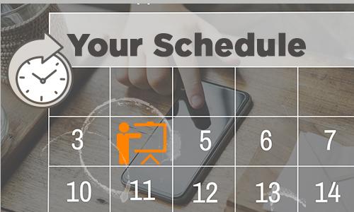 calendar with training icon
