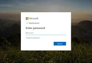 Office 365 Sign In Screen with Microsoft Logo