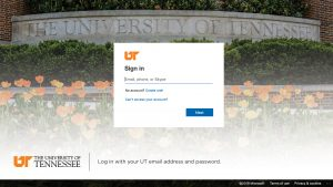Office 365 Sign In Screen with UT Sign and flowers