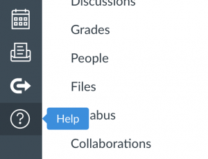Screen shot of Help button in Canvas navigation