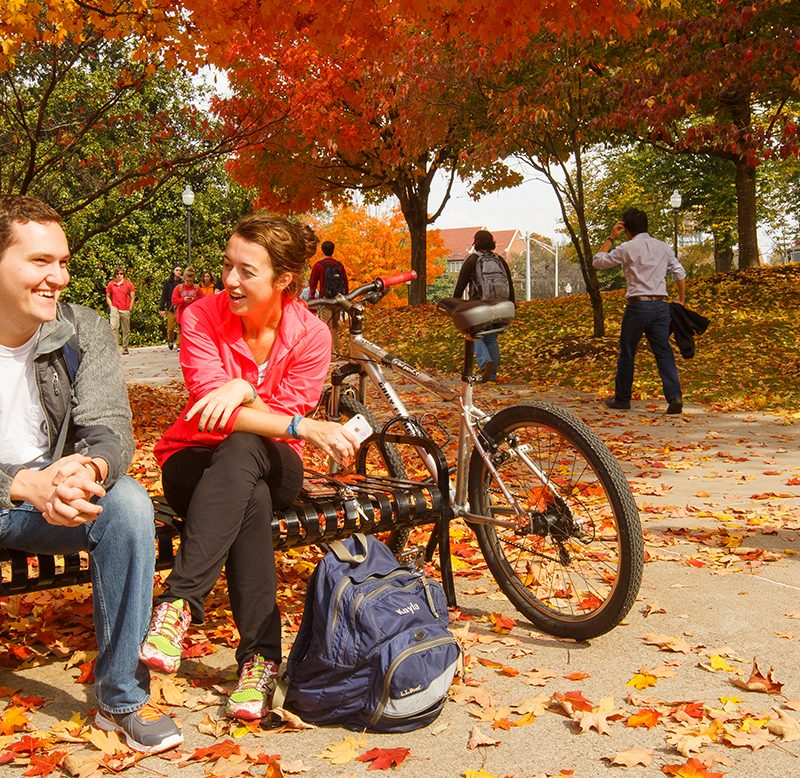 Two students chat on a bench at UT with autumn leaves around them