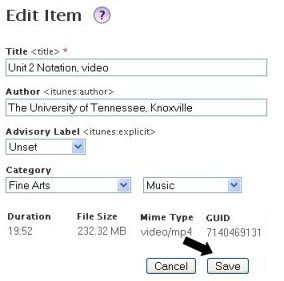 screenshot of the edit item form