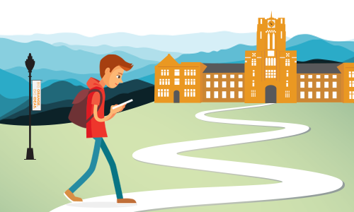 Illustration of Student Walking to Ayres Hall