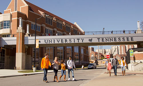People walking on the University of Tennessee, Knoxville campus